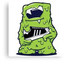 Light Green Monster shoes Art Design Monster Canvas Print