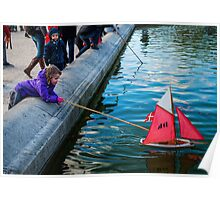 Red Sailing Boat Poster