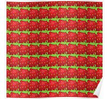 Vector seamless pattern of  many big strawberry Poster