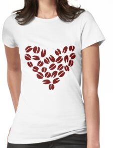 Coffee Bean Heart Womens Fitted T-Shirt