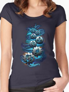Music Engineer - Music Notes & Gears (blue) Women's Fitted Scoop T-Shirt