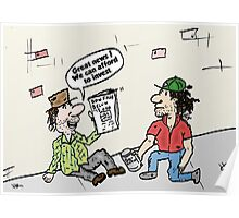 Homeless investors editorial market cartoon Poster