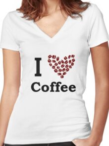 I Love Coffee Women's Fitted V-Neck T-Shirt
