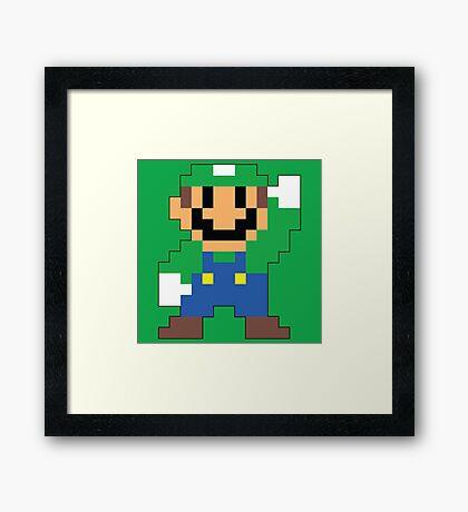 Super Mario Maker - Luigi Costume Sprite Framed Print