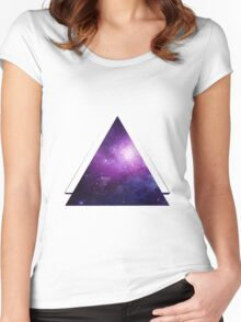 Galaxy 3D Triangle Women's Fitted Scoop T-Shirt