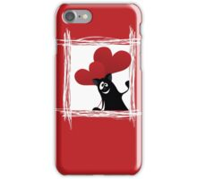 Friendly cartoon cat with ball of heart iPhone Case/Skin