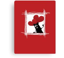 Friendly cartoon cat with ball of heart Canvas Print