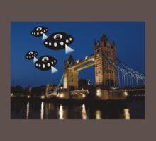 Aliens attack Tower Bridge London One Piece - Short Sleeve