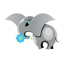 Cute cartoon elephant.  All in a single layer. Photographic Print
