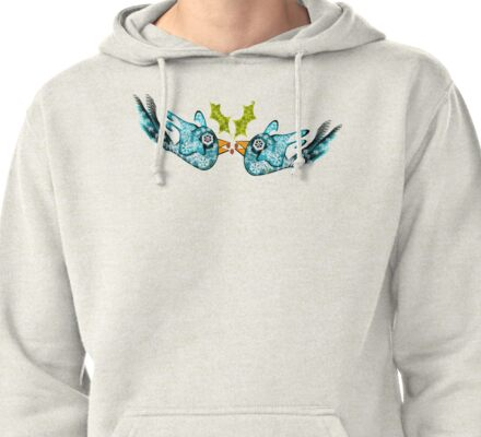 BluE WiNTER sNOW bIRDs (PEACE ON EARTH) Pullover Hoodie