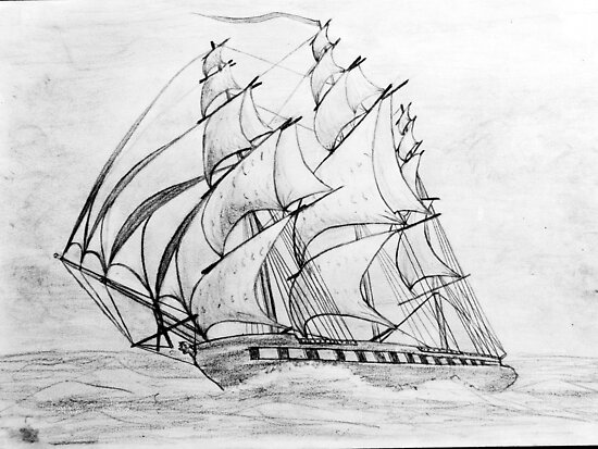 Graphite  Pencil Sketch of a Clipper Ship at Top Speed by Dennis Melling