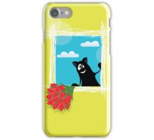Friendly cartoon cat with flowers on yellow background iPhone Case/Skin