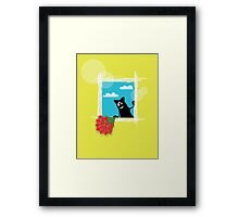 Friendly cartoon cat with flowers on yellow background Framed Print