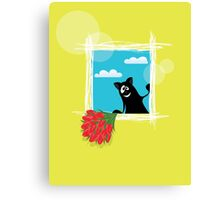 Friendly cartoon cat with flowers on yellow background Canvas Print