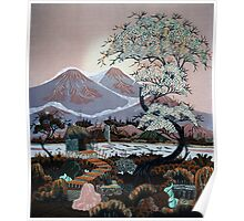 Village cherry blossoms Poster