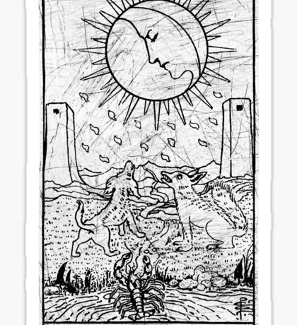 The Moon Tarot Card - Major Arcana - fortune telling - occult Sticker