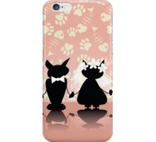 black silhouette of two love cat on  wedding iPhone Case/Skin