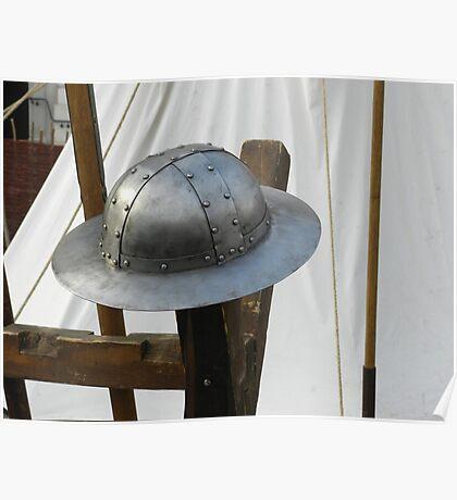 Medieval Riveted Iron Helmet Poster