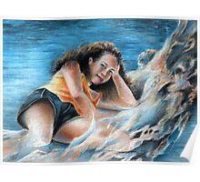Young Tahitian Mermaid Poster