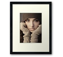 Woman in knit Framed Print