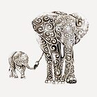 Swirly Elephant Family by SwirlyDesign