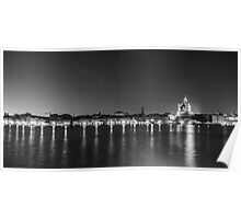Venice Waterfront in Monochrome Poster