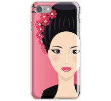 Cute Asian background with face of  Girl iPhone Case/Skin