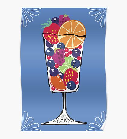 retro food fruit salad dessert dish Poster