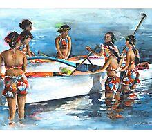 Polynesian Women around Canoe Photographic Print