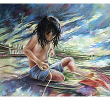 Tahitian Boy with Knife Photographic Print