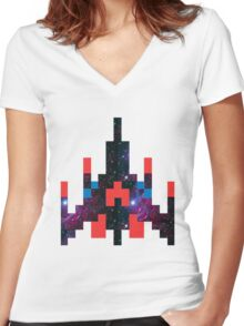 Galaga Women's Fitted V-Neck T-Shirt
