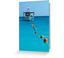 Sea, sky, boat and buoys Greeting Card