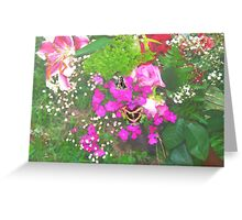 Pink flowers with butterflies Greeting Card