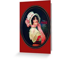Coca-Cola-Vintage Woman Oval Greeting Card