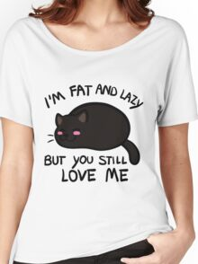 Lazy Cat, Black Women's Relaxed Fit T-Shirt