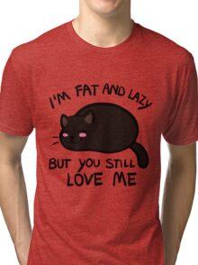Lazy Cat, Black Tri-blend T-Shirt