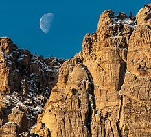 Moon-set Over Red Rock by Greg Summers