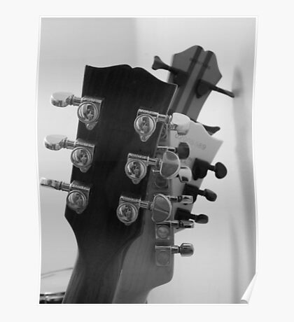 Guitar Heads Black & White Poster