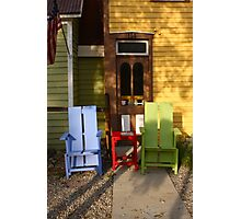 Table and Chairs in Breckenridge, Colorado Photographic Print