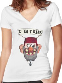 gravity falls i eat kids balloon  Women's Fitted V-Neck T-Shirt
