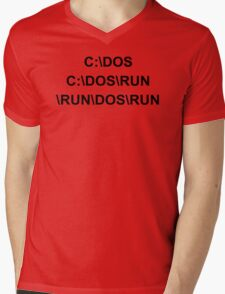 C DOS RUN funny geek nerd programming linux code reddit fan Mens V-Neck T-Shirt