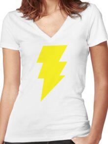 Captain Marvel Shazam Mens Red Geek Chic Retro Women's Fitted V-Neck T-Shirt