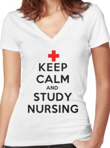 Keep Calm and Study Nursing (LS) Women's Fitted V-Neck T-Shirt