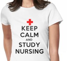 Keep Calm and Study Nursing (LS) Womens Fitted T-Shirt