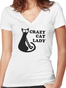Crazy Cat Lady Funny Geek Nerd Cool Awesome Kittens Kitty Kitteh Women's Fitted V-Neck T-Shirt