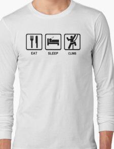 Eat Sleep Climb Mens Blue Mountaineering Rock Climbing T-Shirt