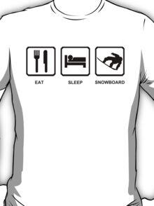 Eat Sleep Snowboard Mens Black Snowboarding T-Shirt