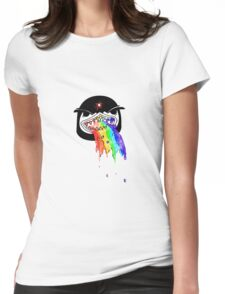 Penguin with shark mouth puking rainbows Womens Fitted T-Shirt
