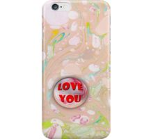 I love you marble on Pink Marbled Paper iPhone Case/Skin