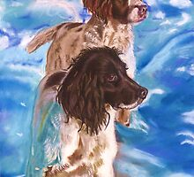 Springers in the snow by Jane Smith